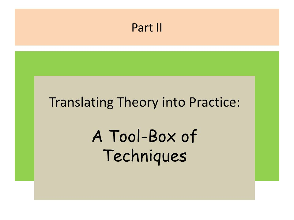 Part II Translating Theory into Practice: A Tool-Box of Techniques