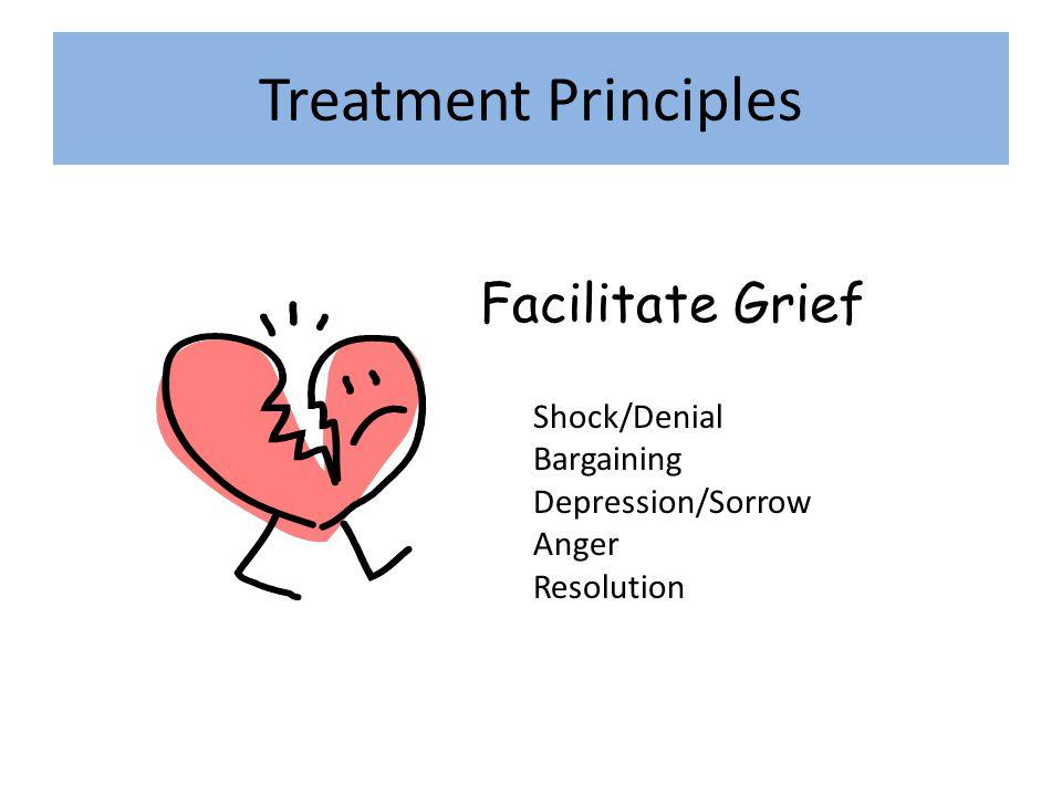 Treatment Principles Facilitate Grief Shock/Denial Bargaining Depression/Sorrow Anger Resolution