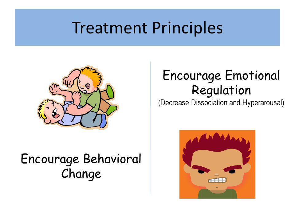 Treatment Principles Encourage Behavioral Change Encourage Emotional Regulation (Decrease Dissociation and Hyperarousal)