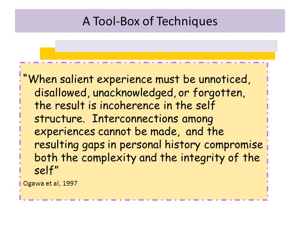 """"""" When salient experience must be unnoticed, disallowed, unacknowledged, or forgotten, the result is incoherence in the self structure. Interconnectio"""