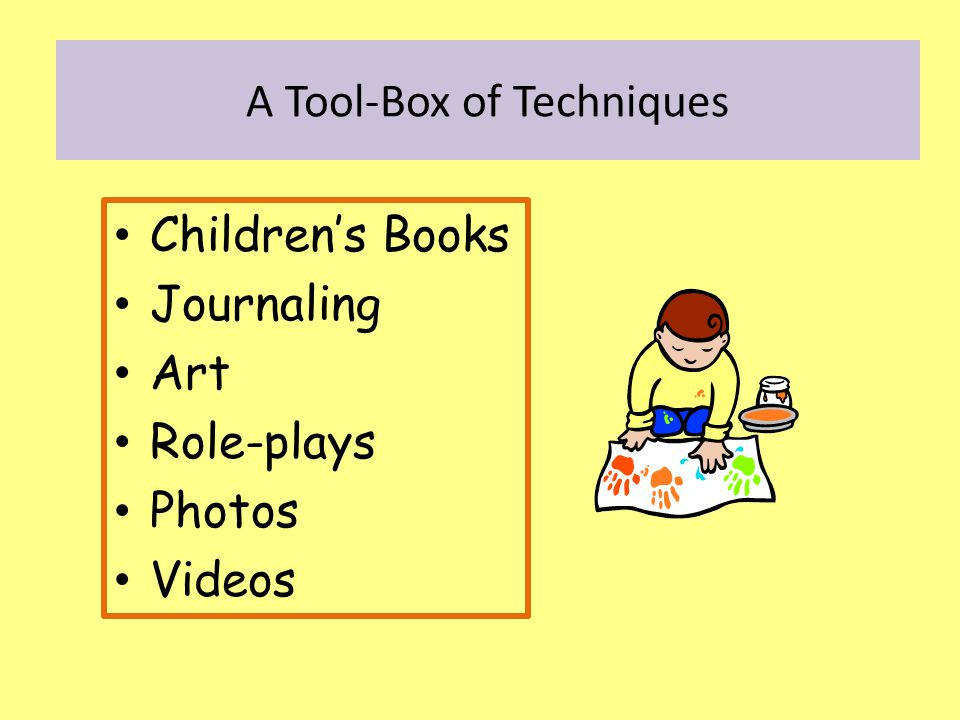 Children's Books Journaling Art Role-plays Photos Videos A Tool-Box of Techniques