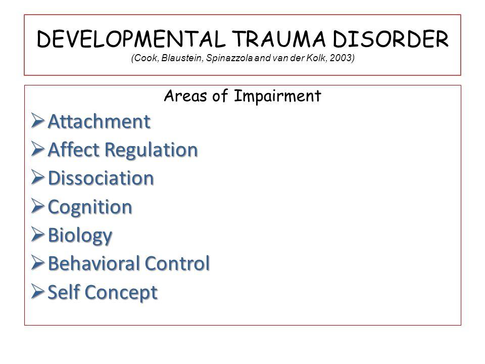 Areas of Impairment  Attachment  AffectRegulation  Affect Regulation  Dissociation  Cognition  Biology  BehavioralControl  Behavioral Control