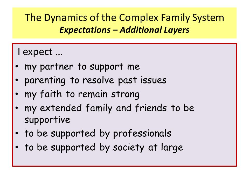 I expect … my partner to support me parenting to resolve past issues my faith to remain strong my extended family and friends to be supportive to be s