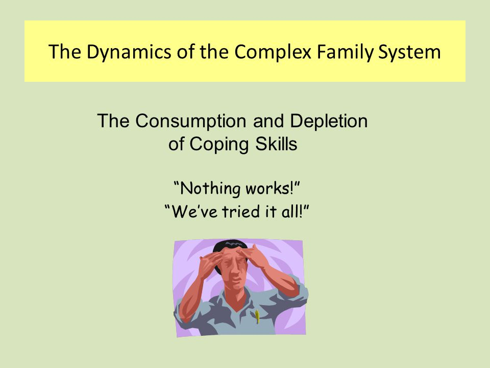 Ineffective Coping Styles - Parental  Punitive  Accommodating – I give in  Making Extraordinary Efforts  Emotionally Withdrawn  Yes, but…  Split The Dynamics of the Complex Family System