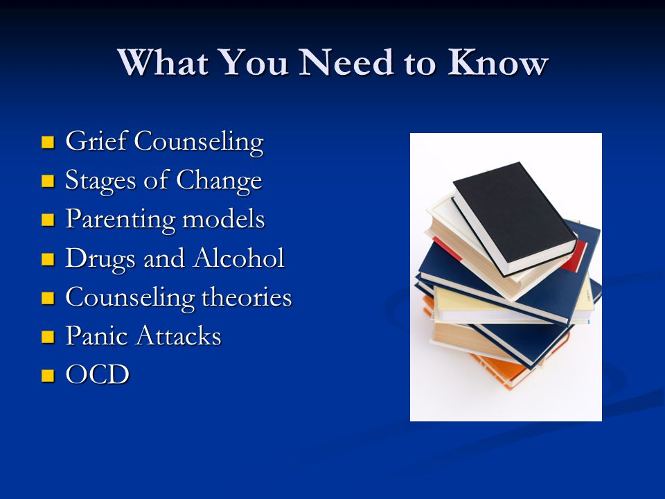 What You Need to Know Grief Counseling Grief Counseling Stages of Change Stages of Change Parenting models Parenting models Drugs and Alcohol Drugs and Alcohol Counseling theories Counseling theories Panic Attacks Panic Attacks OCD OCD
