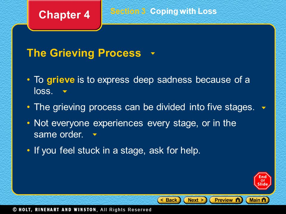 Section 3 Coping with Loss The Grieving Process To grieve is to express deep sadness because of a loss.