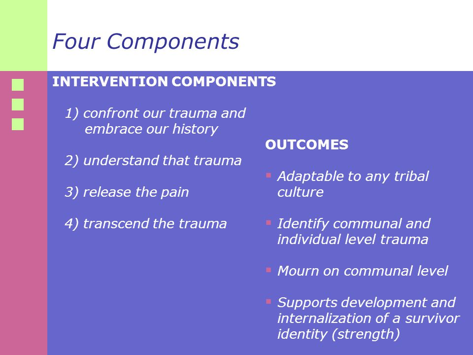 Four Components INTERVENTION COMPONENTS 1) confront our trauma and embrace our history 2) understand that trauma 3) release the pain 4) transcend the trauma OUTCOMES  Adaptable to any tribal culture  Identify communal and individual level trauma  Mourn on communal level  Supports development and internalization of a survivor identity (strength)