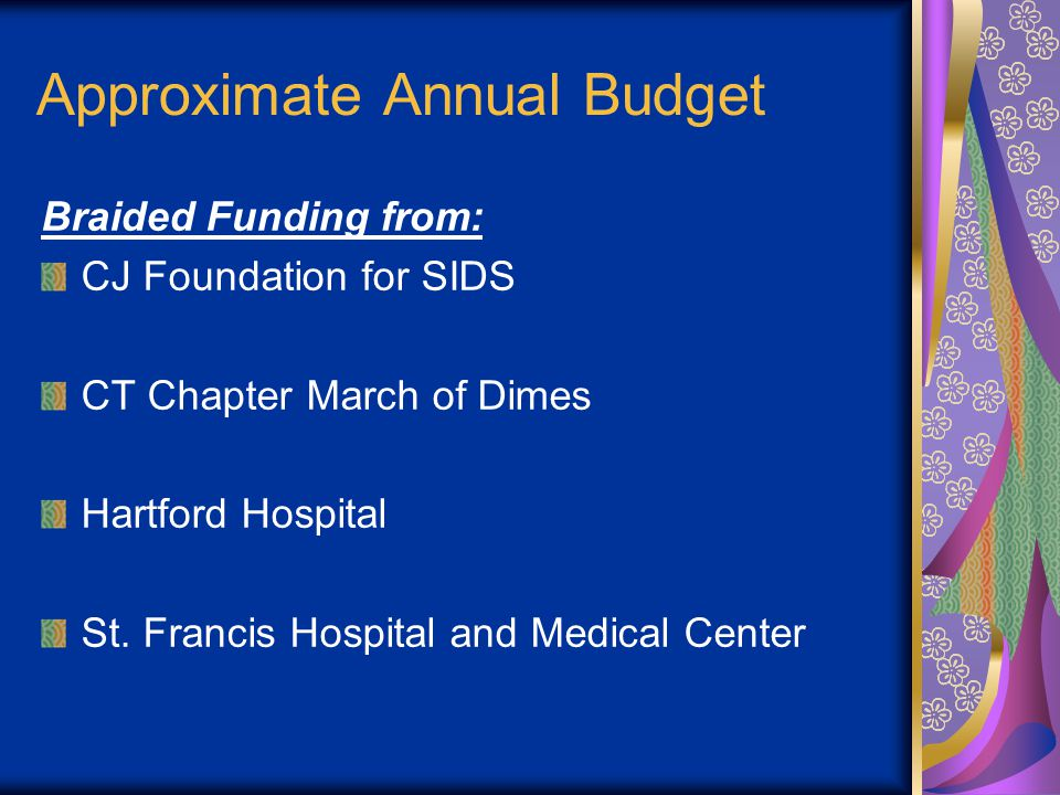 Approximate Annual Budget Braided Funding from: CJ Foundation for SIDS CT Chapter March of Dimes Hartford Hospital St.