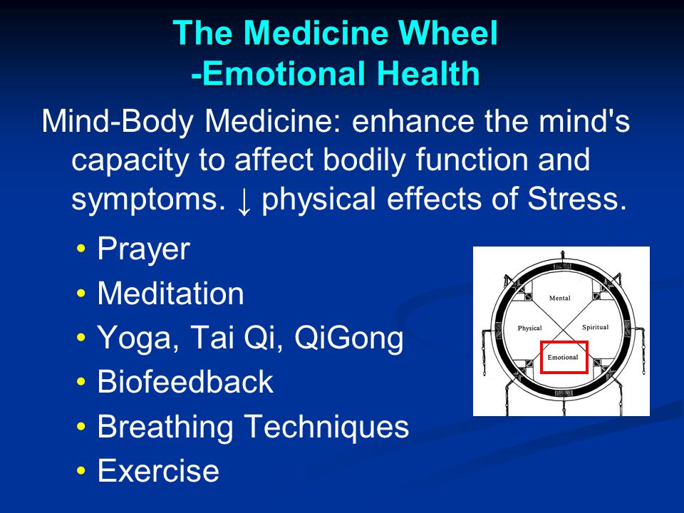 The Medicine Wheel -Emotional Health Mind-Body Medicine: enhance the mind s capacity to affect bodily function and symptoms.