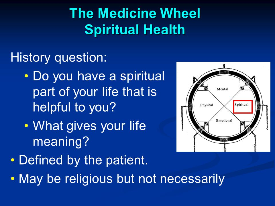 The Medicine Wheel Spiritual Health History question: Do you have a spiritual part of your life that is helpful to you.