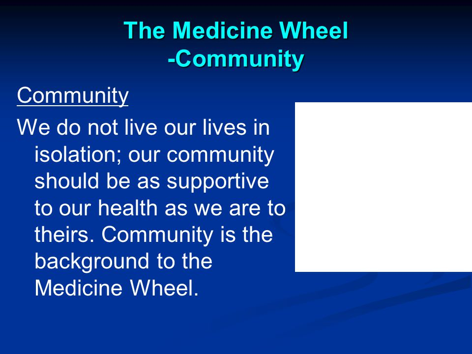 The Medicine Wheel -Community Community We do not live our lives in isolation; our community should be as supportive to our health as we are to theirs.