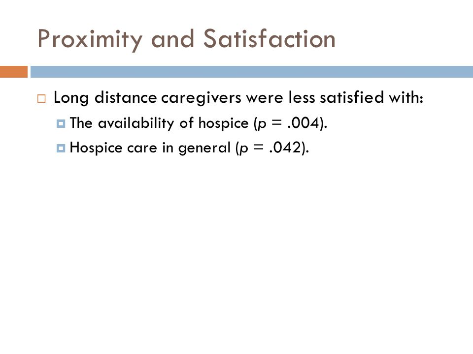 Proximity and Satisfaction  Long distance caregivers were less satisfied with:  The availability of hospice (p =.004).  Hospice care in general (p