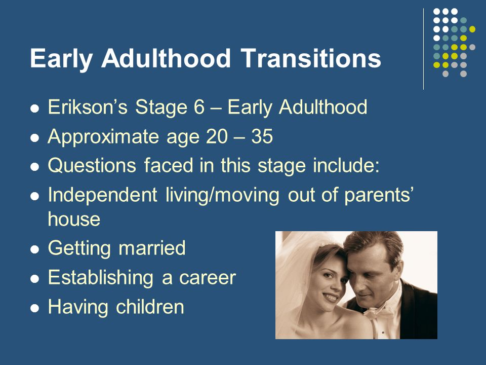 Early Adulthood Transitions Erikson's Stage 6 – Early Adulthood Approximate age 20 – 35 Questions faced in this stage include: Independent living/movi