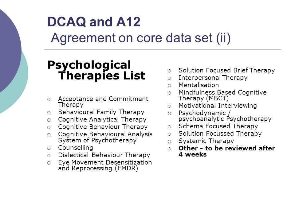 DCAQ and A12 Agreement on core data set (ii) Psychological Therapies List  Acceptance and Commitment Therapy  Behavioural Family Therapy  Cognitive Analytical Therapy  Cognitive Behaviour Therapy  Cognitive Behavioural Analysis System of Psychotherapy  Counselling  Dialectical Behaviour Therapy  Eye Movement Desensitization and Reprocessing (EMDR)  Solution Focused Brief Therapy  Interpersonal Therapy  Mentalisation  Mindfulness Based Cognitive Therapy (MBCT)  Motivational Interviewing  Psychodynamic / psychoanalytic Psychotherapy  Schema Focused Therapy  Solution Focussed Therapy  Systemic Therapy  Other - to be reviewed after 4 weeks