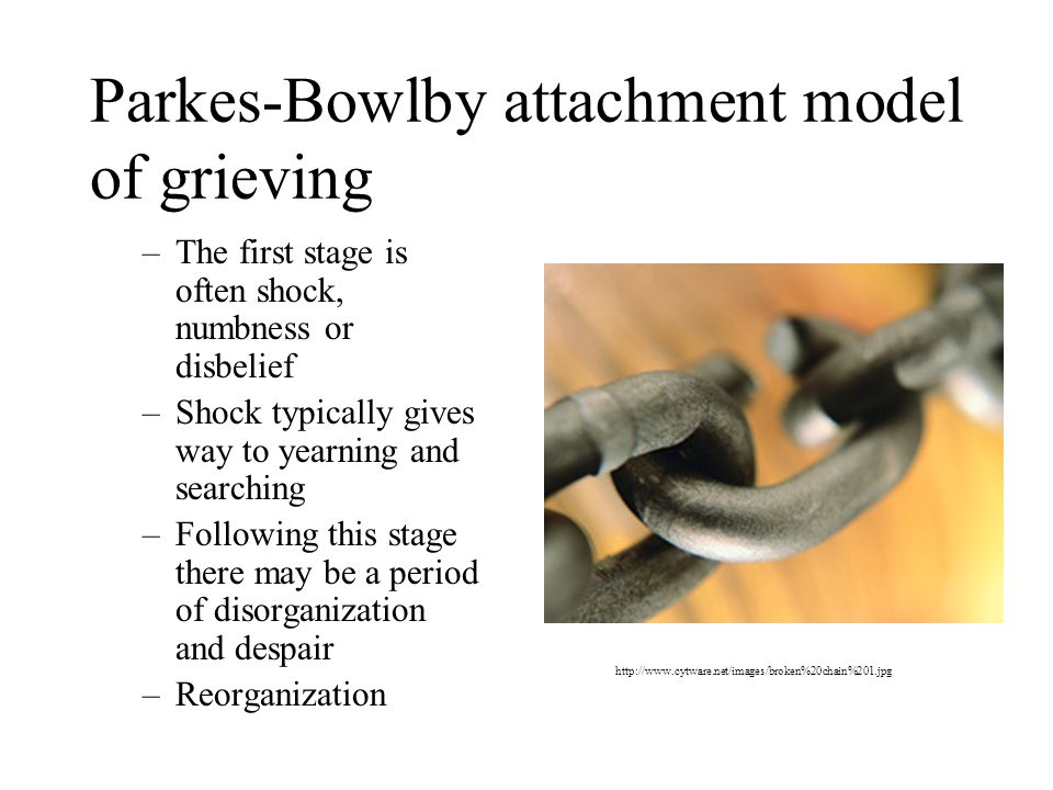 Parkes-Bowlby attachment model of grieving –The first stage is often shock, numbness or disbelief –Shock typically gives way to yearning and searching –Following this stage there may be a period of disorganization and despair –Reorganization http://www.cytware.net/images/broken%20chain%201.jpg