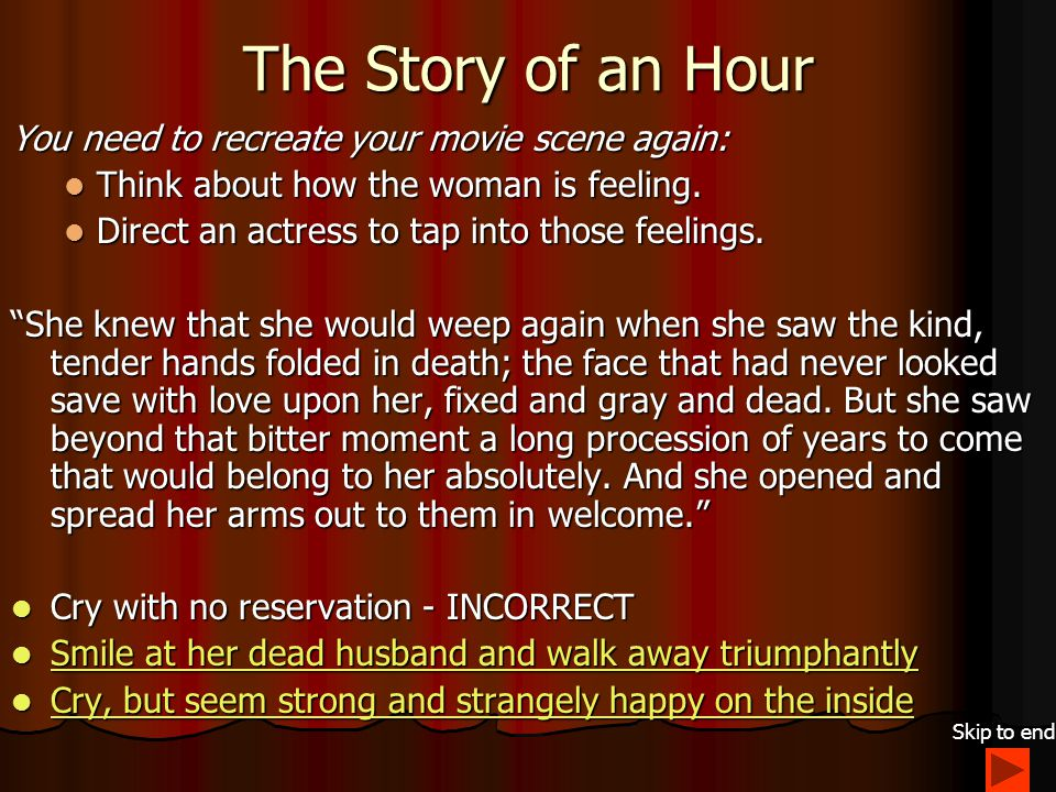The Story of an Hour Based on the paragraph below from Chopin's The Story of an Hour, how would you tell your actress to act at the funeral.