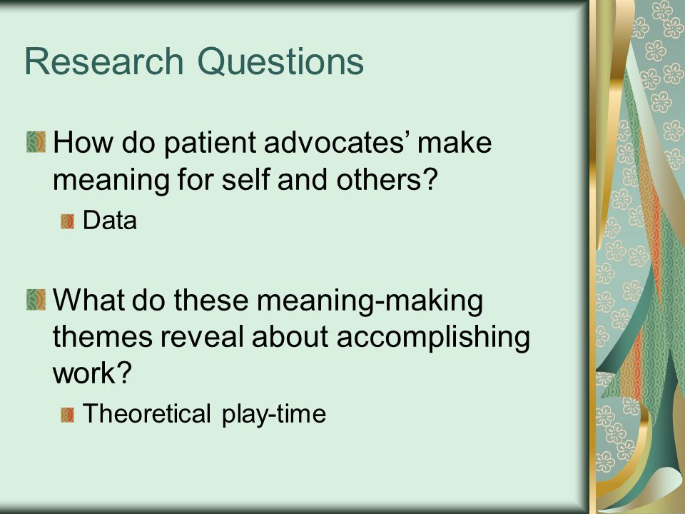 Questions for you Do categories of meaning-making make sense to you.