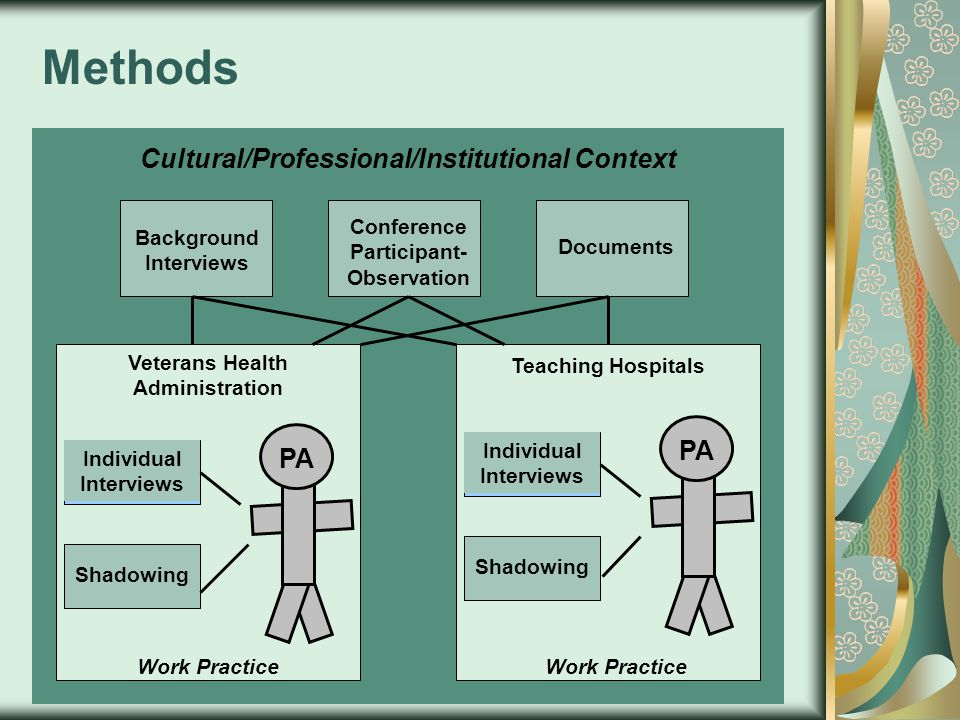 Cultural/Professional/Institutional Context Individual Interviews Veterans Health Administration Teaching Hospitals Work Practice PA Methods