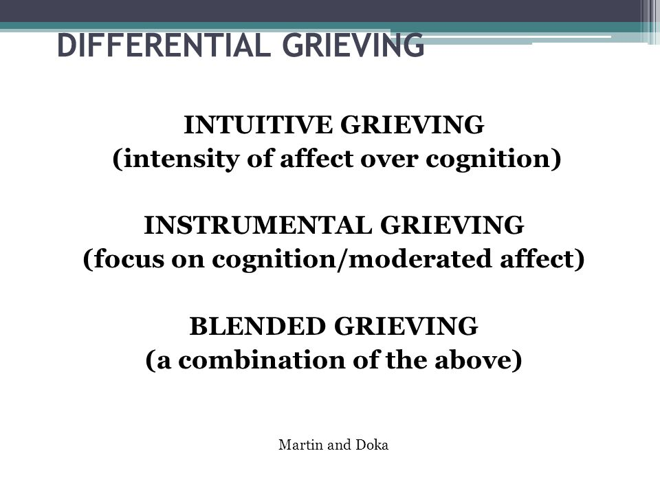 DIFFERENTIAL GRIEVING INTUITIVE GRIEVING (intensity of affect over cognition) INSTRUMENTAL GRIEVING (focus on cognition/moderated affect) BLENDED GRIEVING (a combination of the above) Martin and Doka