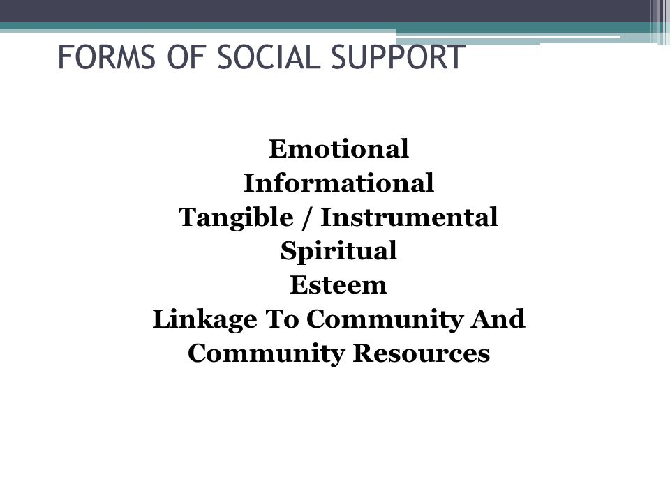 FORMS OF SOCIAL SUPPORT Emotional Informational Tangible / Instrumental Spiritual Esteem Linkage To Community And Community Resources