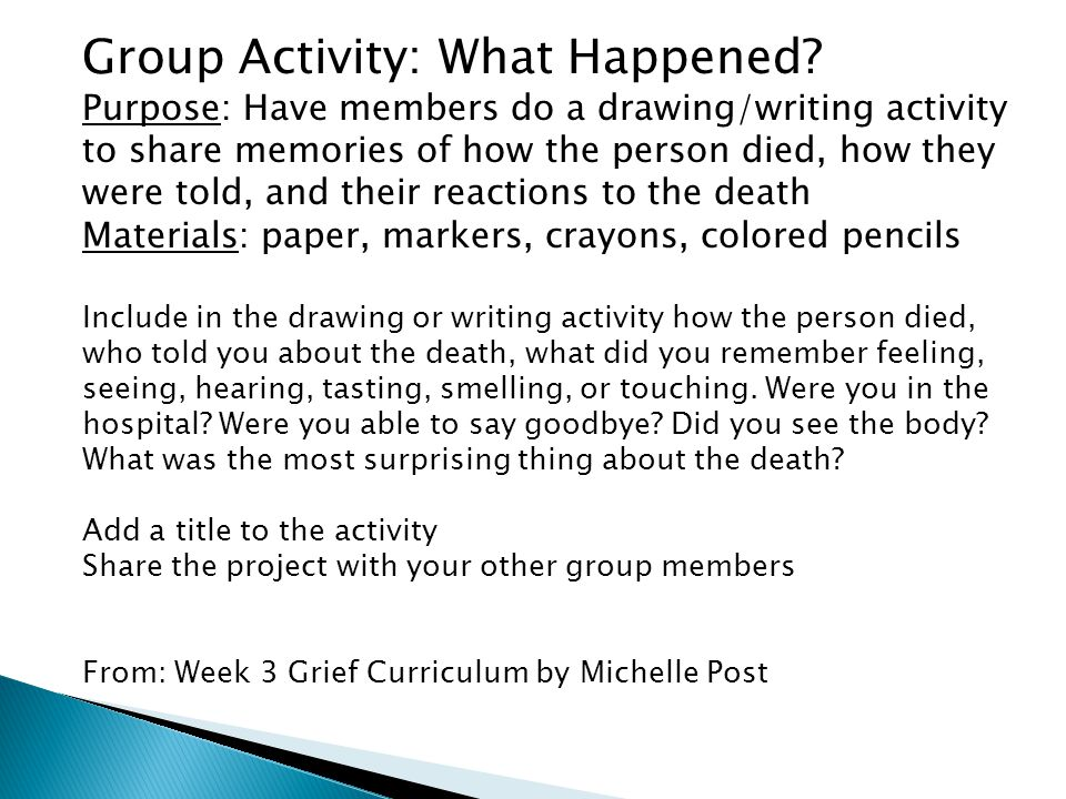 Group Activity: What Happened.