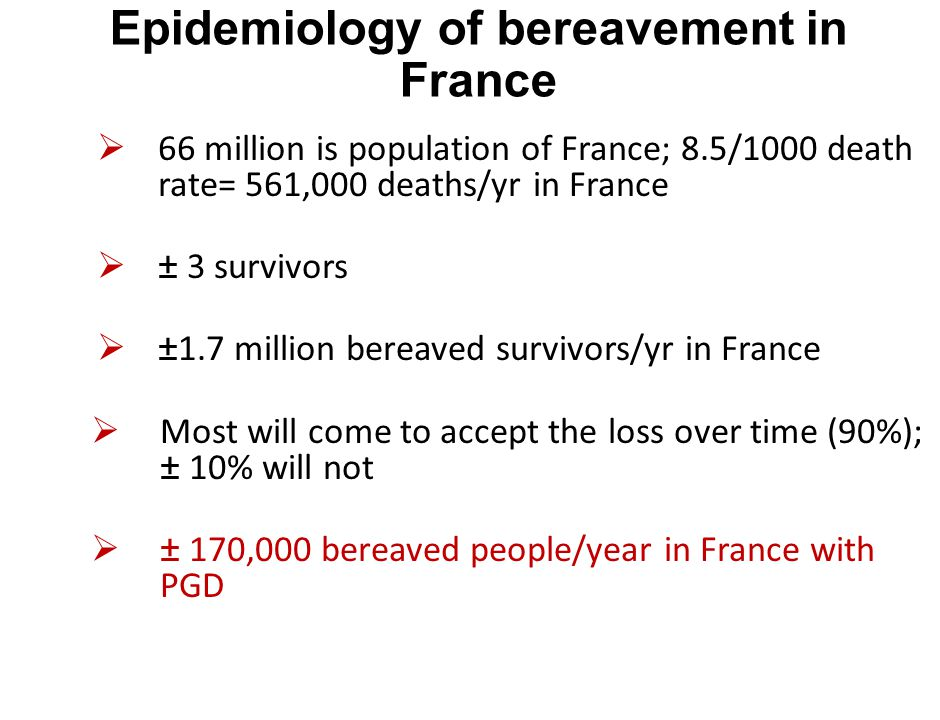 Epidemiology of bereavement in France  66 million is population of France; 8.5/1000 death rate= 561,000 deaths/yr in France  ± 3 survivors  ±1.7 mi