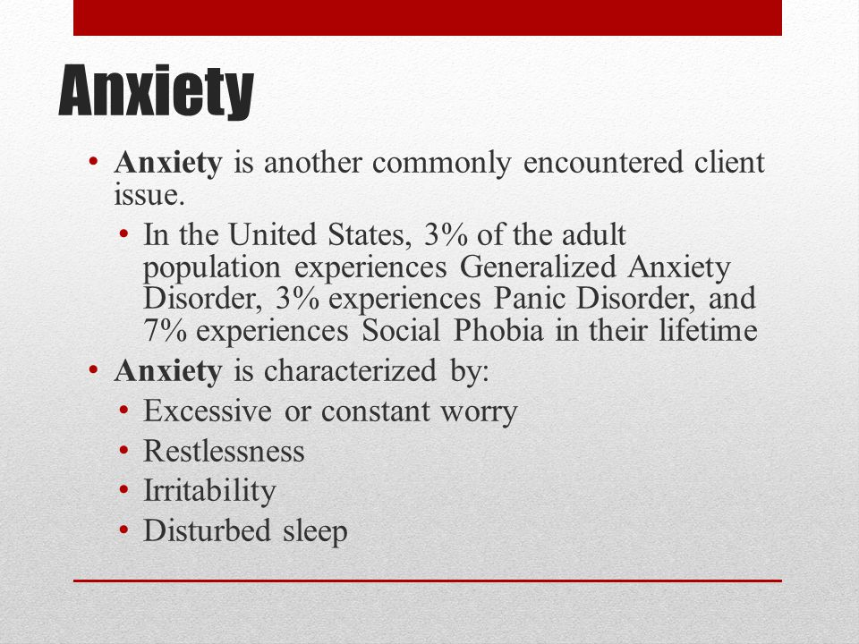 Anxiety Anxiety is another commonly encountered client issue.