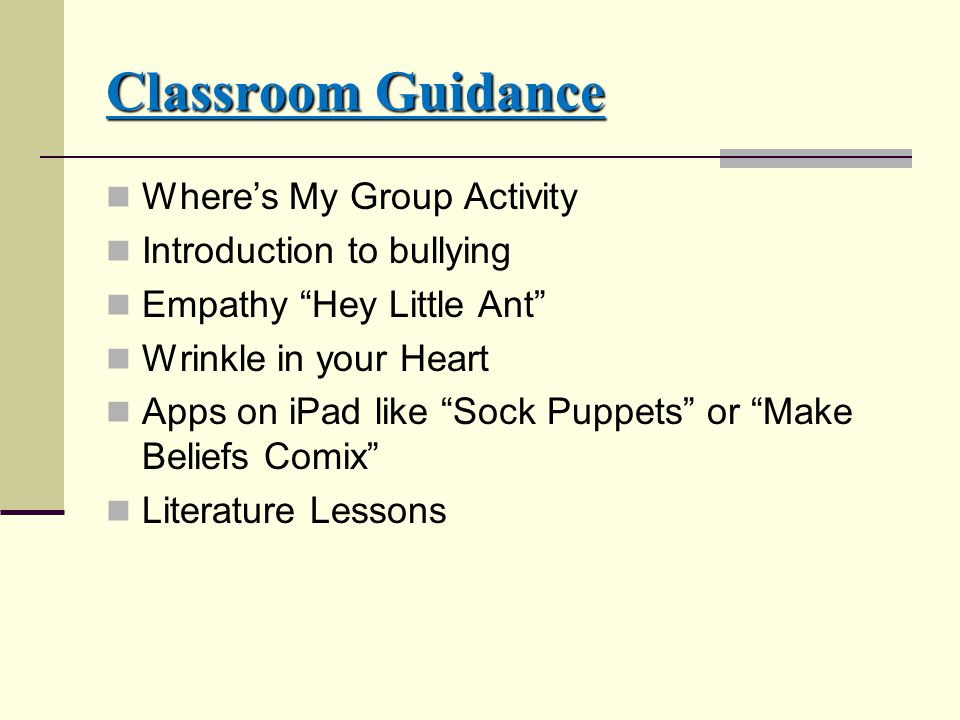 Classroom Guidance Where's My Group Activity Introduction to bullying Empathy Hey Little Ant Wrinkle in your Heart Apps on iPad like Sock Puppets or Make Beliefs Comix Literature Lessons