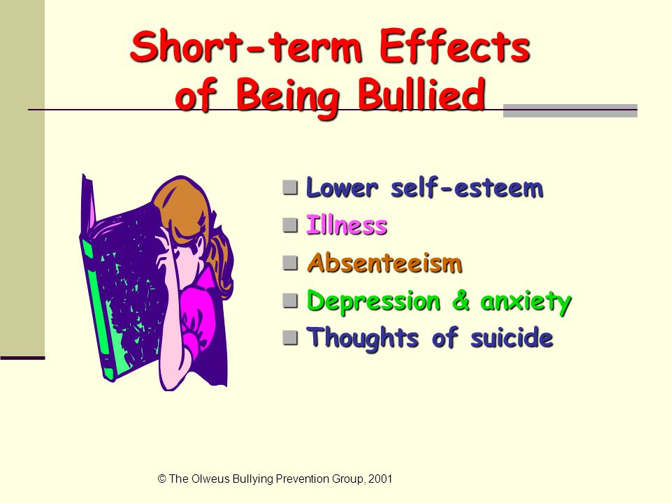 Short-term Effects of Being Bullied Lower self-esteem Lower self-esteem Illness Illness Absenteeism Absenteeism Depression & anxiety Depression & anxiety Thoughts of suicide Thoughts of suicide © The Olweus Bullying Prevention Group, 2001