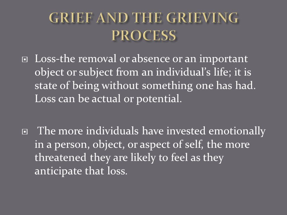 Loss is an element of dying just as it is for bereavement.