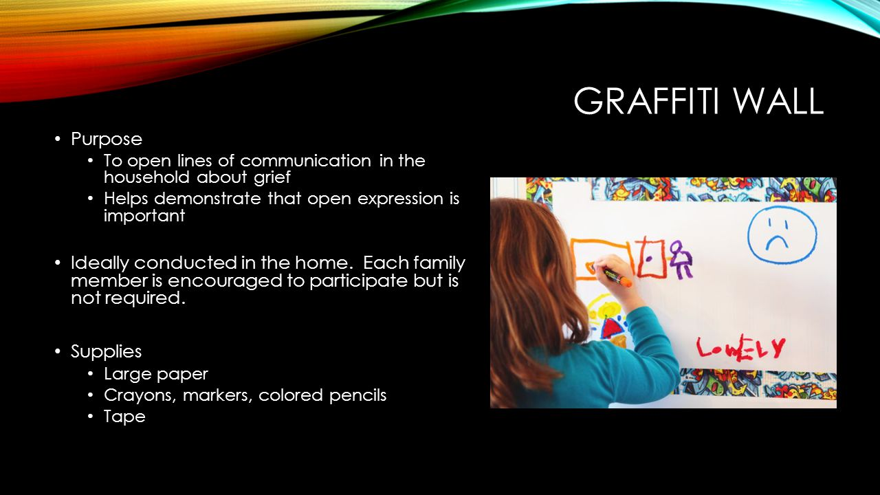 GRAFFITI WALL Purpose To open lines of communication in the household about grief Helps demonstrate that open expression is important Ideally conducte