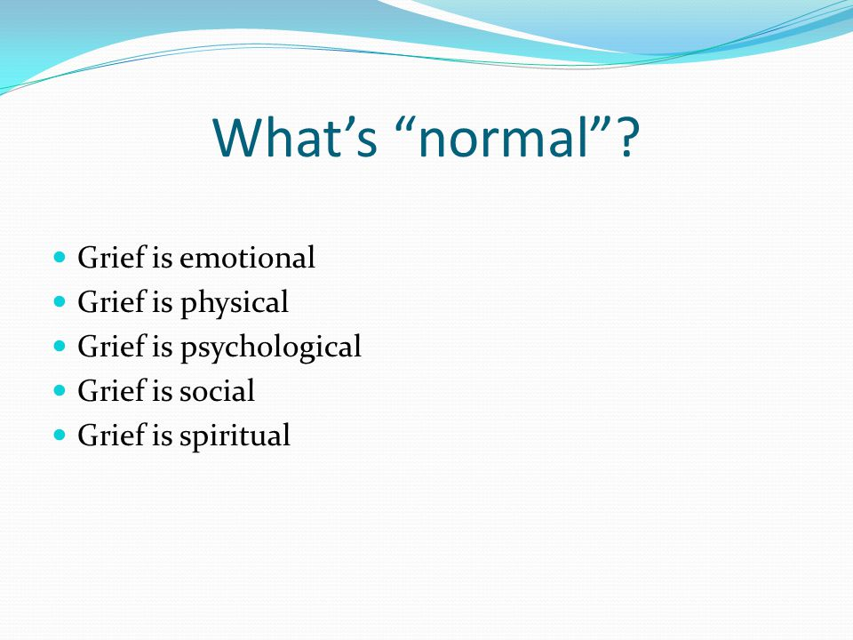 Grief and School Performance Inability to concentrate Decline in grades Anxiety Social withdrawal Temper tantrums/aggression Difficulty with boundaries Others?