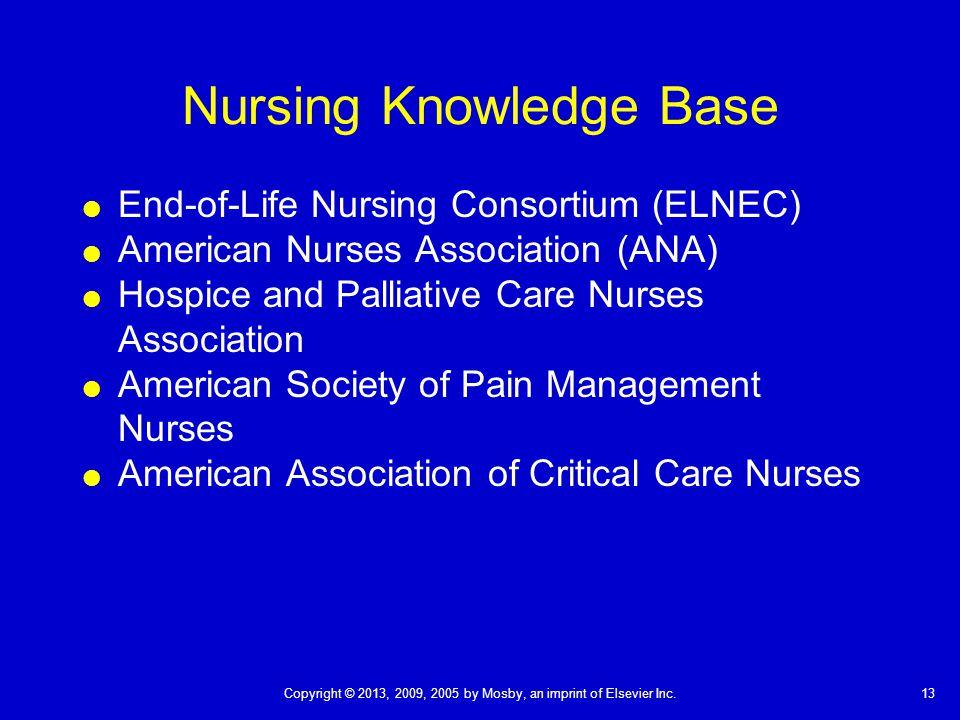 13Copyright © 2013, 2009, 2005 by Mosby, an imprint of Elsevier Inc. Nursing Knowledge Base  End-of-Life Nursing Consortium (ELNEC)  American Nurses