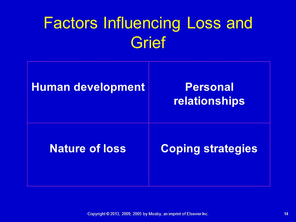 14Copyright © 2013, 2009, 2005 by Mosby, an imprint of Elsevier Inc. Factors Influencing Loss and Grief Human developmentPersonal relationships Nature
