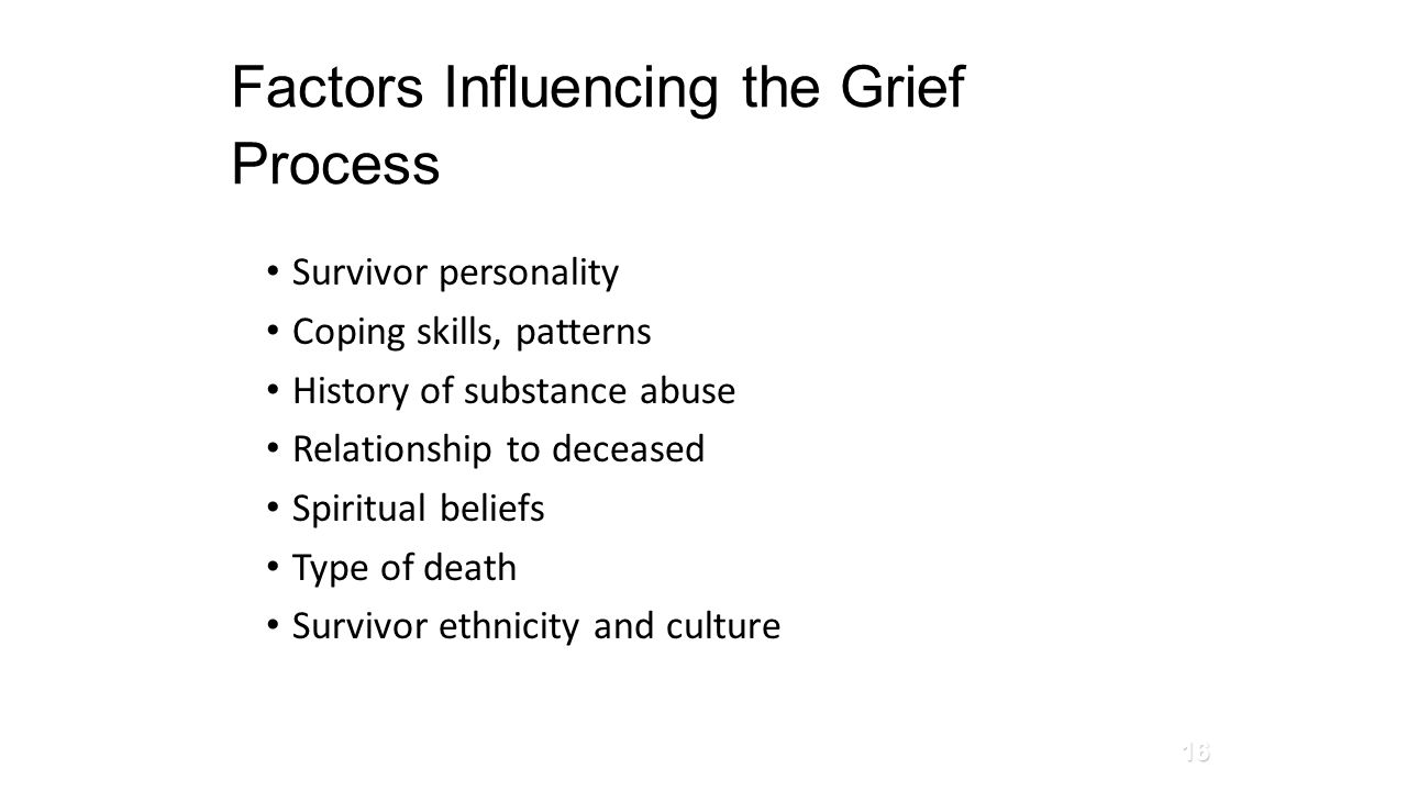 Factors Influencing the Grief Process Survivor personality Coping skills, patterns History of substance abuse Relationship to deceased Spiritual belie