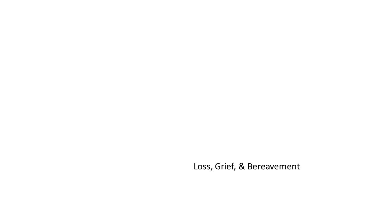 Loss, Grief, & Bereavement