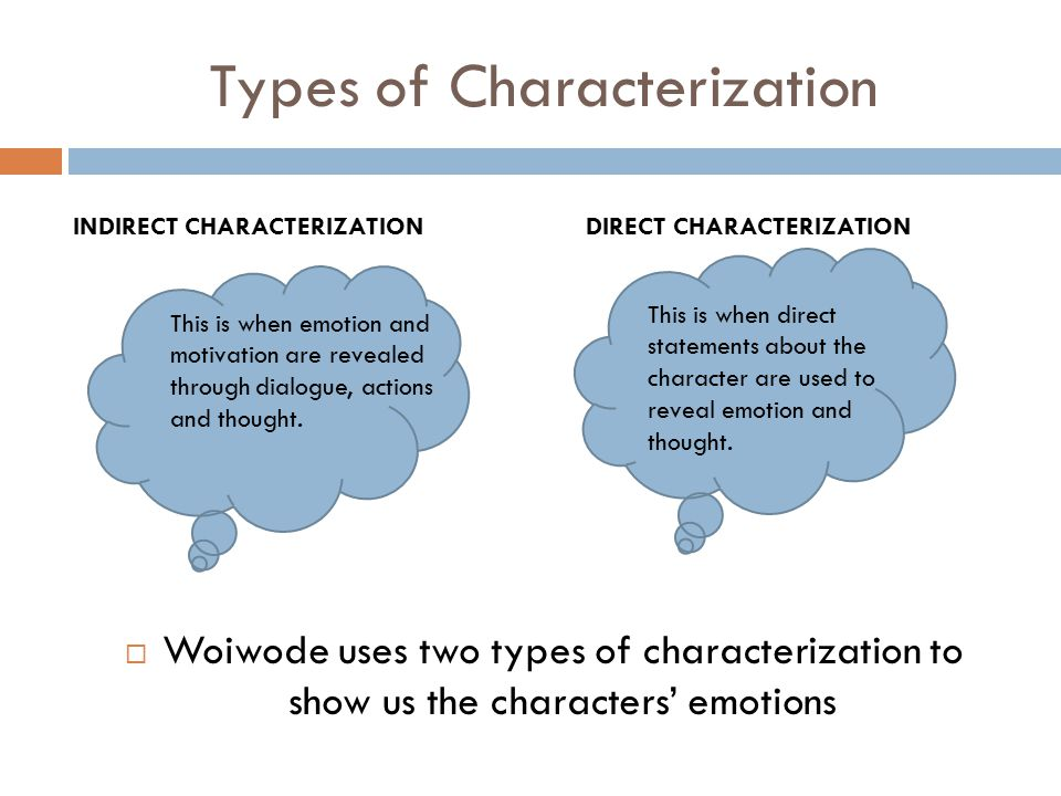Types of Characterization  Woiwode uses two types of characterization to show us the characters' emotions DIRECT CHARACTERIZATION This is when direct