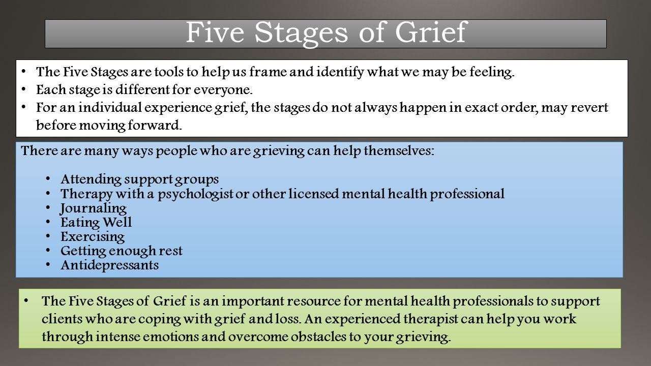 The Five Stages are tools to help us frame and identify what we may be feeling. Each stage is different for everyone. For an individual experience gri