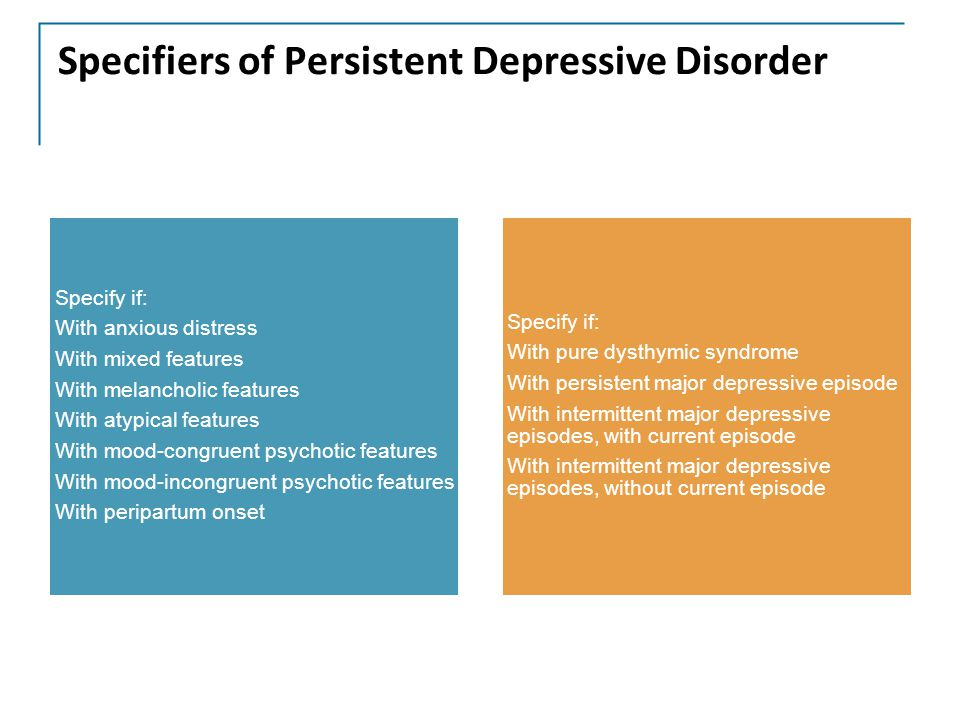 Specifiers of Persistent Depressive Disorder Specify if: With anxious distress With mixed features With melancholic features With atypical features With mood-congruent psychotic features With mood-incongruent psychotic features With peripartum onset Specify if: With pure dysthymic syndrome With persistent major depressive episode With intermittent major depressive episodes, with current episode With intermittent major depressive episodes, without current episode
