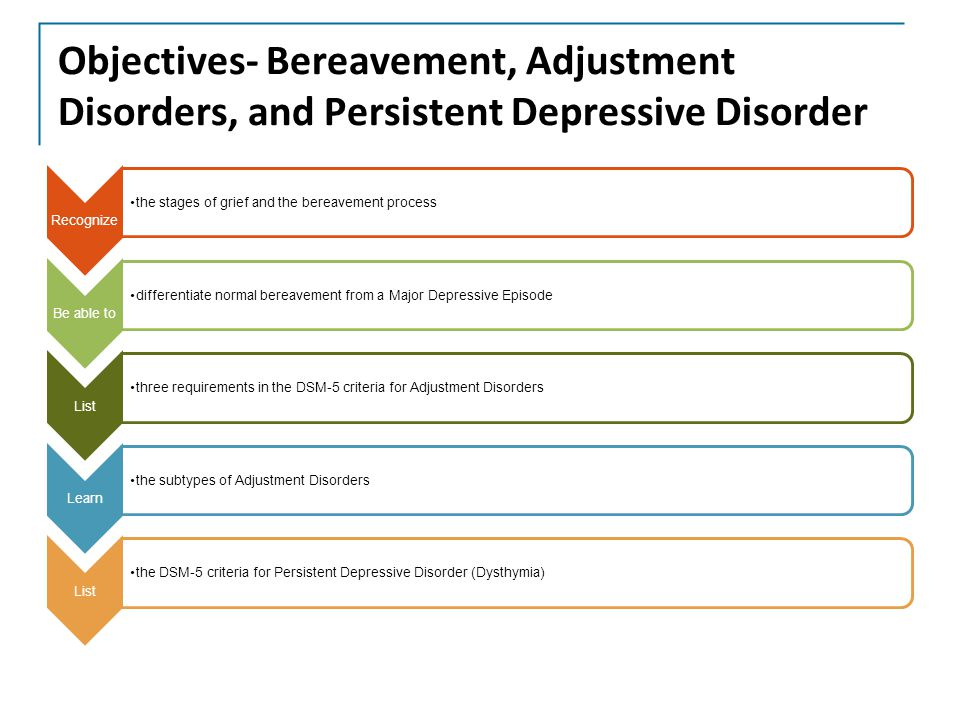 Objectives- Bereavement, Adjustment Disorders, and Persistent Depressive Disorder Recognize the stages of grief and the bereavement process Be able to differentiate normal bereavement from a Major Depressive Episode List three requirements in the DSM-5 criteria for Adjustment Disorders Learn the subtypes of Adjustment Disorders List the DSM-5 criteria for Persistent Depressive Disorder (Dysthymia)