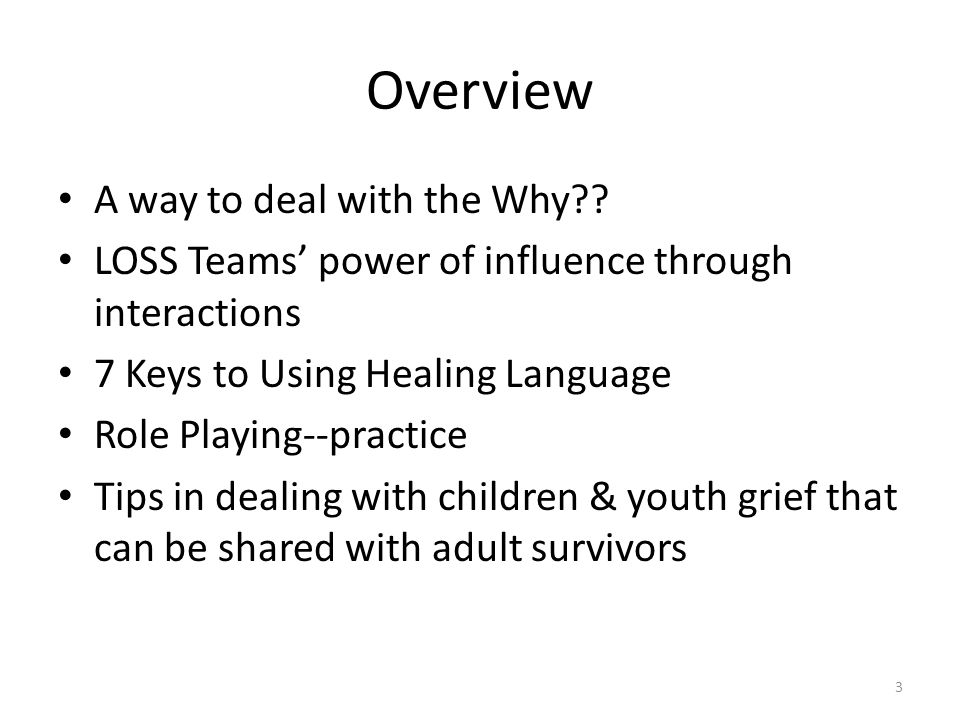 Overview A way to deal with the Why .