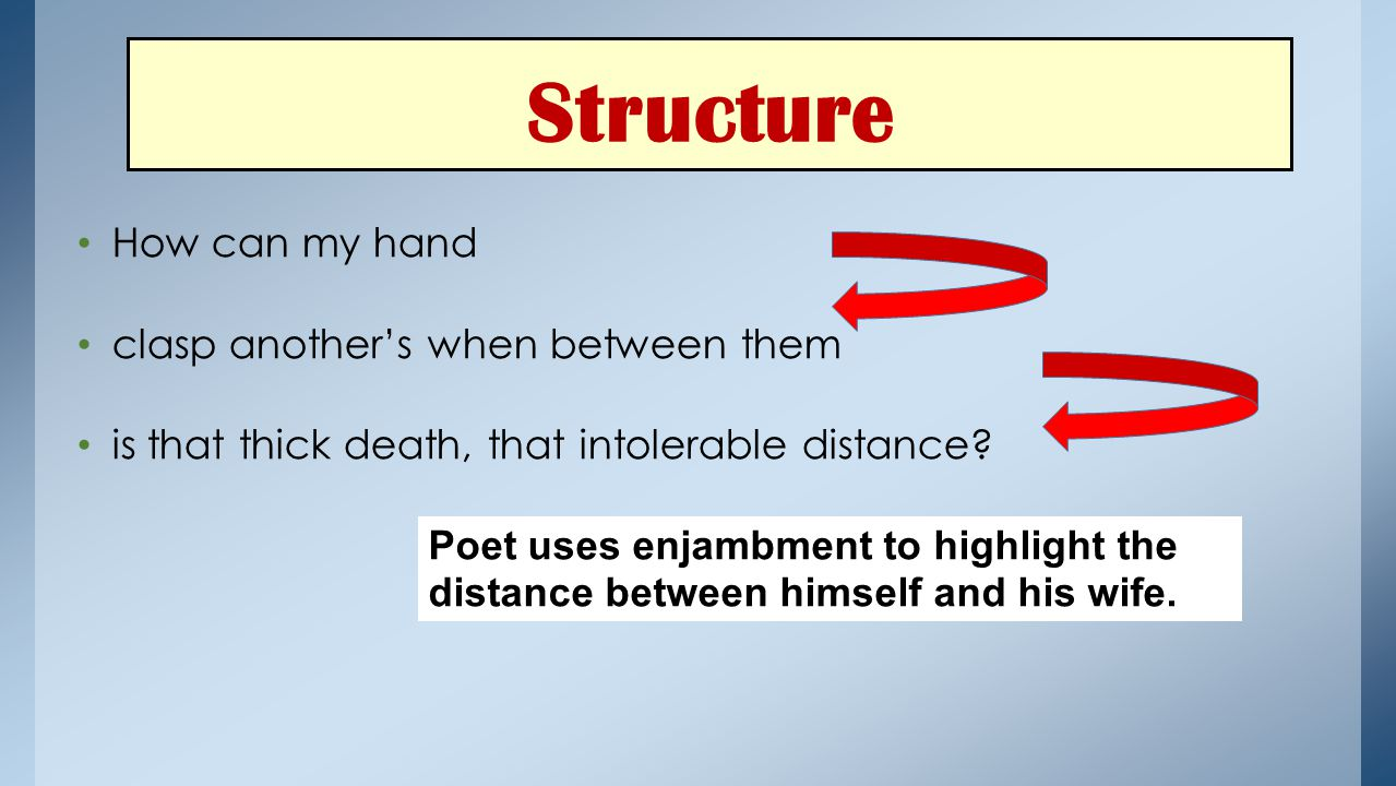 Structure How can my hand clasp another's when between them is that thick death, that intolerable distance? Poet uses enjambment to highlight the dist