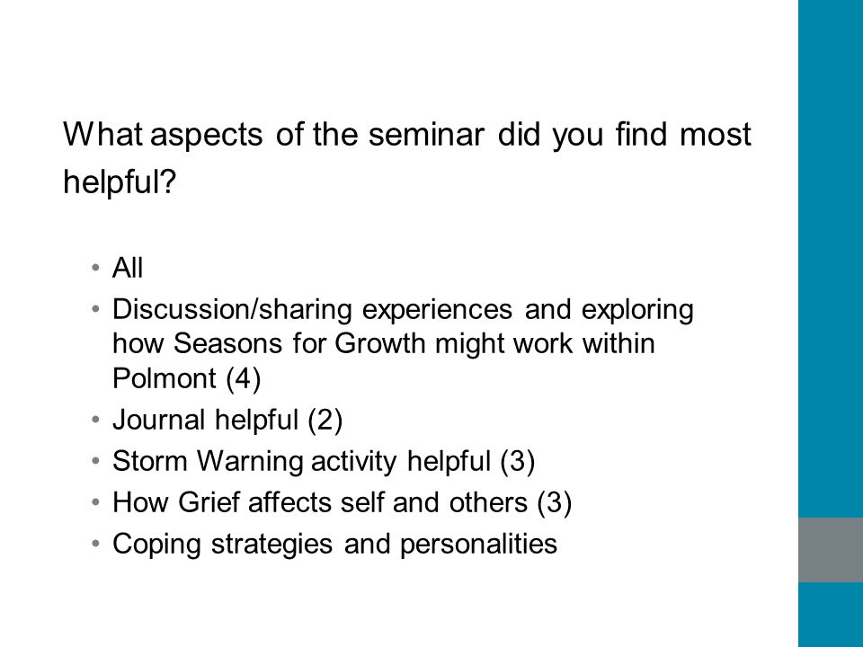 What aspects of the seminar did you find most helpful? All Discussion/sharing experiences and exploring how Seasons for Growth might work within Polmo
