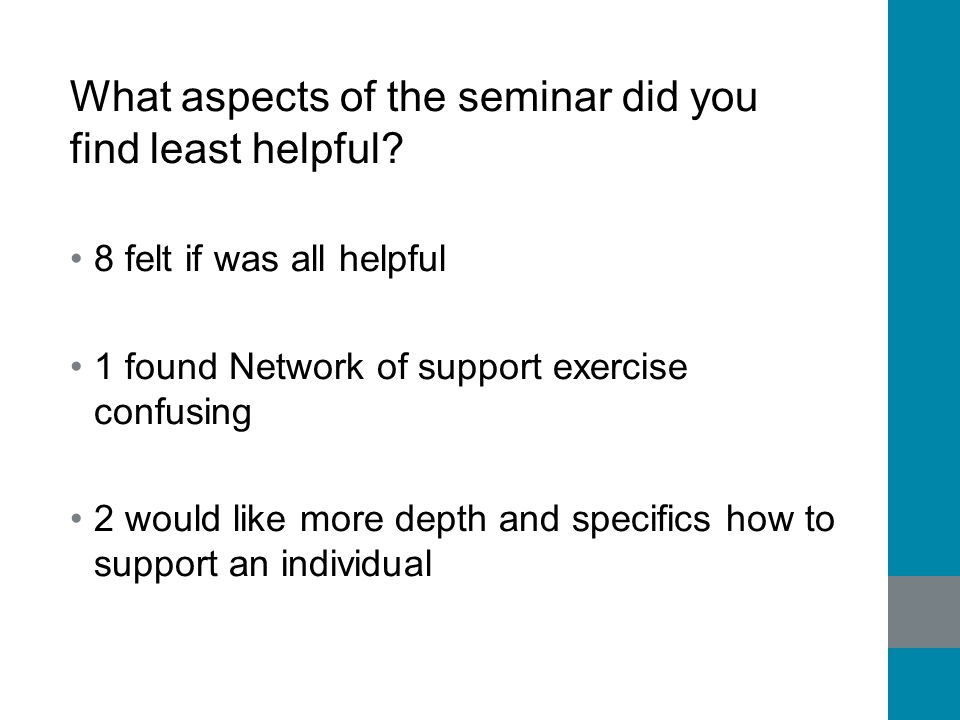 What aspects of the seminar did you find least helpful? 8 felt if was all helpful 1 found Network of support exercise confusing 2 would like more dept
