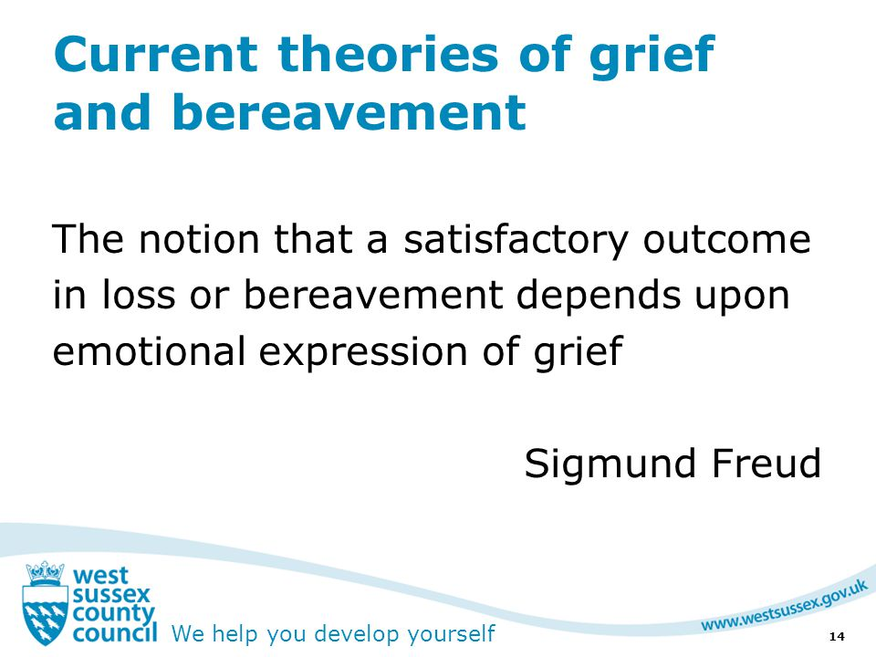 We help you develop yourself Current theories of grief and bereavement The notion that a satisfactory outcome in loss or bereavement depends upon emotional expression of grief Sigmund Freud 14