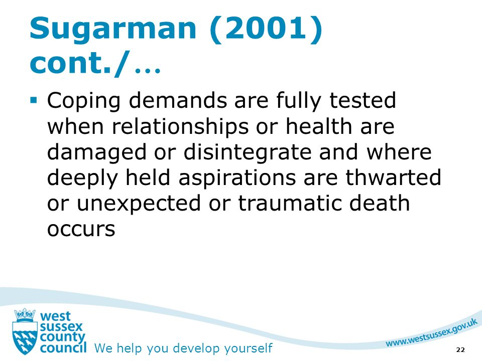 We help you develop yourself Sugarman (2001) cont./ …  Coping demands are fully tested when relationships or health are damaged or disintegrate and where deeply held aspirations are thwarted or unexpected or traumatic death occurs 22