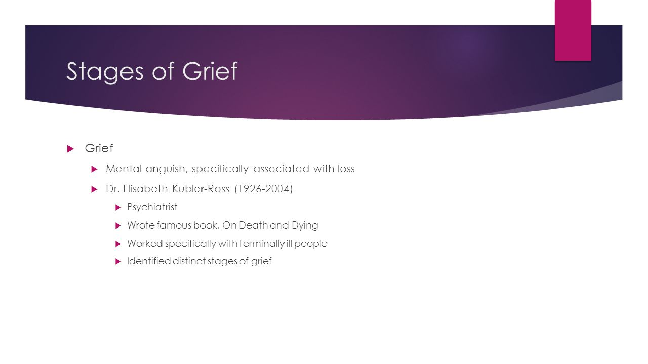 Stages of Grief  Grief  Mental anguish, specifically associated with loss  Dr. Elisabeth Kubler-Ross (1926-2004)  Psychiatrist  Wrote famous book