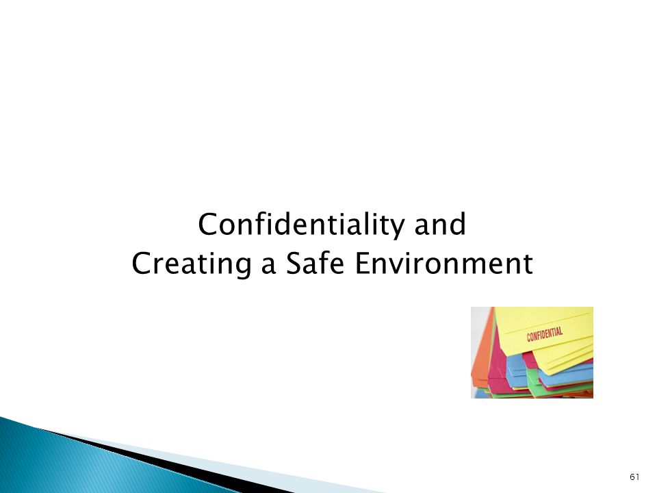 Confidentiality and Creating a Safe Environment 61