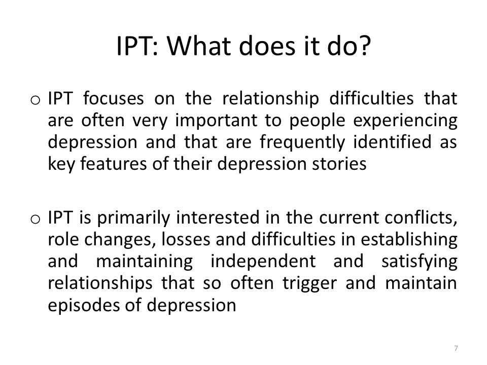 IPT: What does it do.
