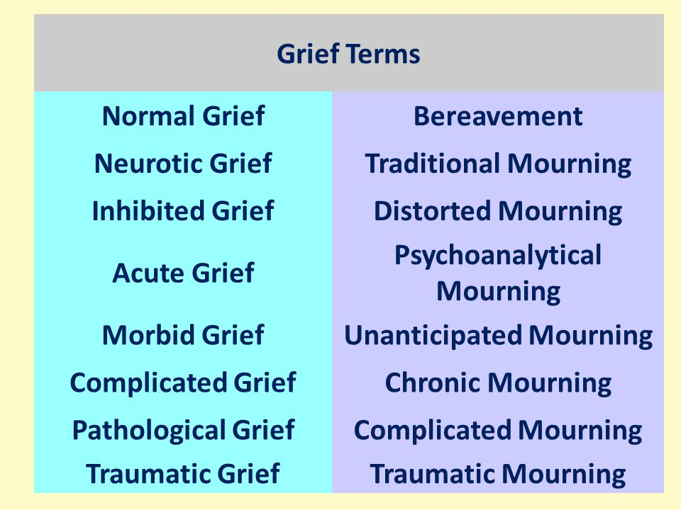 Grief Terms Normal GriefBereavement Neurotic GriefTraditional Mourning Inhibited GriefDistorted Mourning Acute Grief Psychoanalytical Mourning Morbid GriefUnanticipated Mourning Complicated GriefChronic Mourning Pathological GriefComplicated Mourning Traumatic GriefTraumatic Mourning